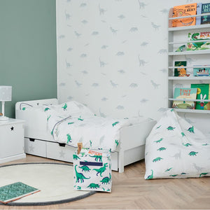 Children's wallpaper design in white with grey dinosaurs.