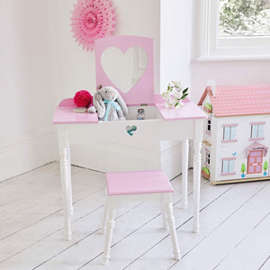 Sweetheart Dressing Table & Stool Set, Pink & White