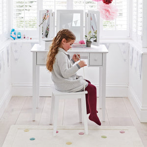 Charlotte dressing table & stool set in white.
