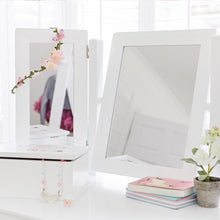 Charlotte dressing table & stool set in white with a mirror.