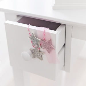 Charlotte dressing table & stool set in white drawer.