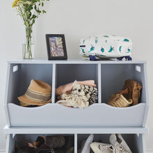 white and cloud grey triple stacking storage trunks