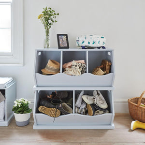 white and grey triple stacking storage trunks and single stacking storage trunks