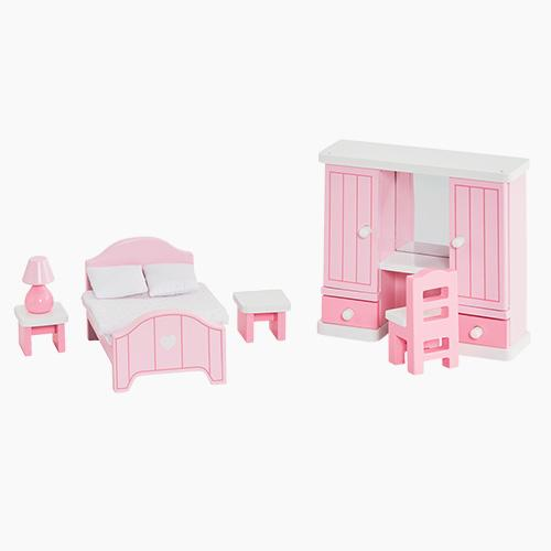 Charming Dollu0027s House Dolls In A Wooden Dollu0027s House Bedroom.