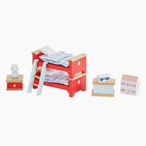 Doll's house furniture set for the children's bedroom.
