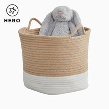 Rope storage basket in ivory & natural and a grey cloud storage cube.