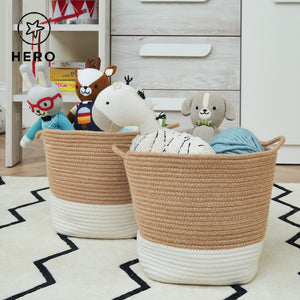 Rope storage basket in ivory & natural with a soft toy bunny.