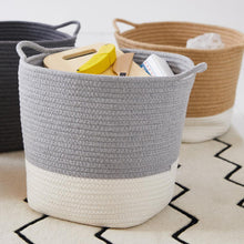 Rope storage baskets in ivory & grey, dark grey and natural & black.