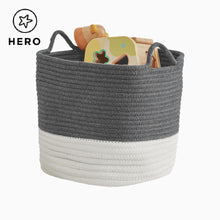 Rope storage basket in ivory & dark grey and ivory & natural.