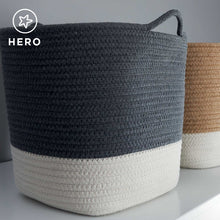 Rope storage basket in ivory & dark grey.