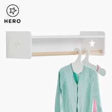 Tomorrow's clothes rail in white with a star cutout.