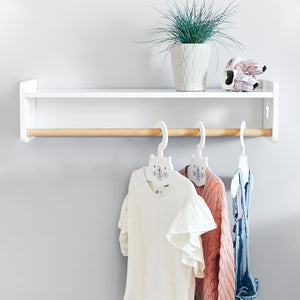 Tomorrow's clothes rail in white.