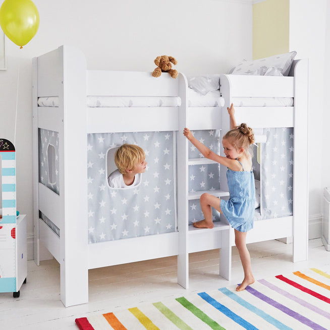Paddington Bunk Bed with Grey Star Play Curtains