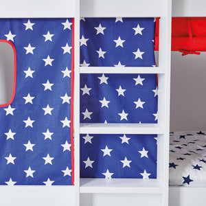 Paddington Bunk Bed with Navy Star Play Curtains