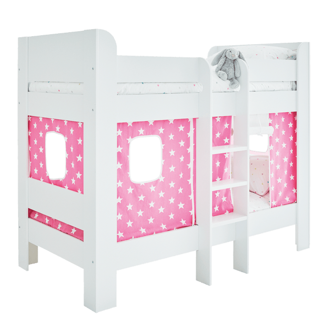 Paddington Bunk Bed with Pink Star Play Curtains.