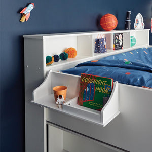 Clip-on bedside table in white with a wooden toy sheep.