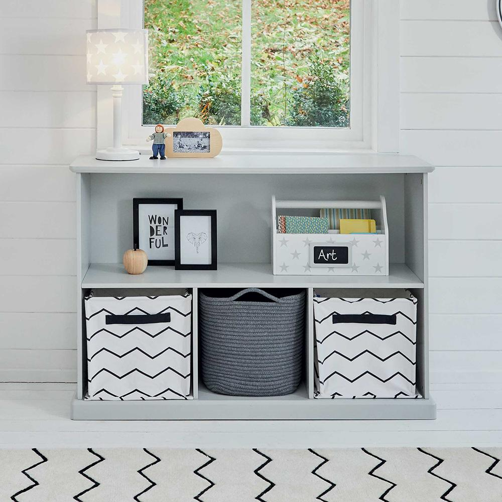 Abbeville Storage Shelf Unit In Cloud Grey, Including Storage Baskets And A  Wooden Toy For