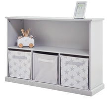 Storage shelf unit in cloud grey with wooden toys, zigzag storage cubes and a grey basket.