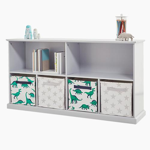 Long shelf unit in cloud grey with storage cubes and baskets, children's toys and books.