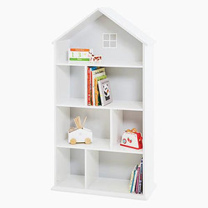 Large townhouse bookcase in white with a wooden toy till and a gallopy gallop horse.