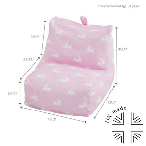 measurements of child's pink bunny bean bag chair