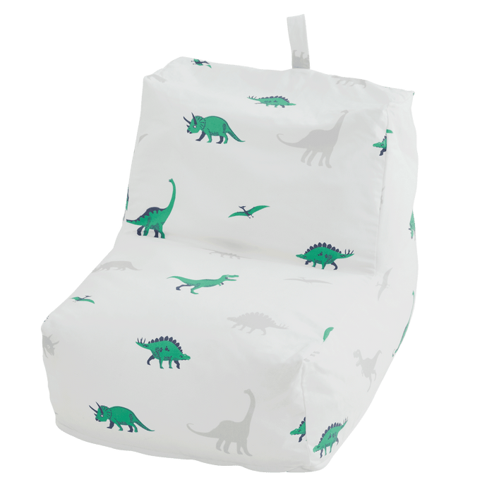 washable bean bag chair with grey and green dinosaurs