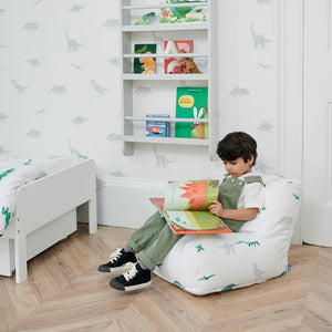 side view of washable kids' bean bag with dinosaur print