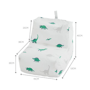 Close up of the washable bean bag chair in white with green and grey dinosaurs.