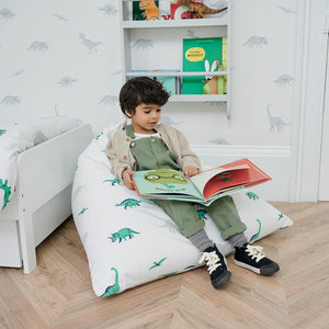 Washable bean bag in white with green and grey dinosaurs.