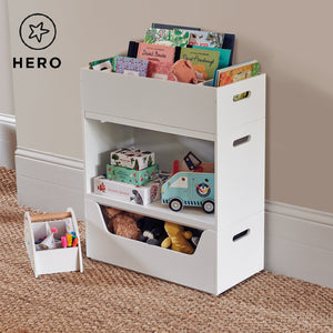 Rackham storage set 1 in white with a toy box, book shelf and a tray.