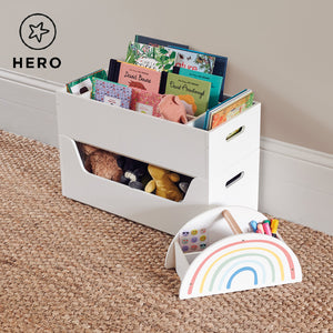 Rackham storage set 2 in white with a toy box and a tray, storing wooden toys and children's books.