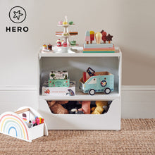 Rackham storage set 4 in white with a book shelf and a toy box.