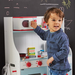 Toy microwave and a play kitchen.