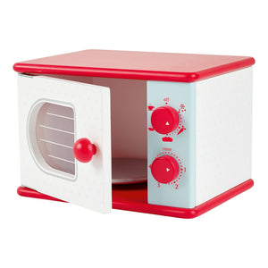 Wooden toy microwave.