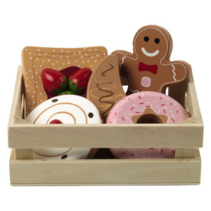 Bakery basket filled with wooden baked treats.