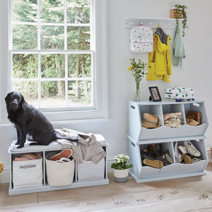 grey stacking hallway storage