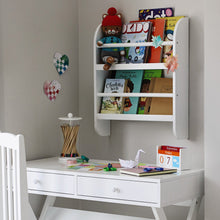 Greenaway mini bookcase in white and faraday desk in white.
