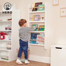 Greenaway skinny bookcase in white and natural and a bean bag for children.