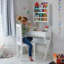 white kids desk and chair