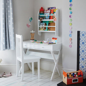 white children's desk and chair