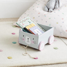 wooden miss cat pull-along book storage cart