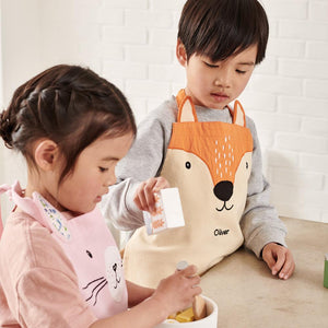 Personalised apron in bunny hop and mr fox.
