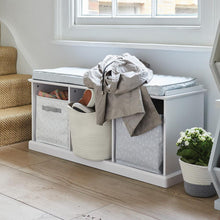 White, wooden storage bench  and storage baskets