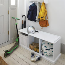 white. wooden storage bench