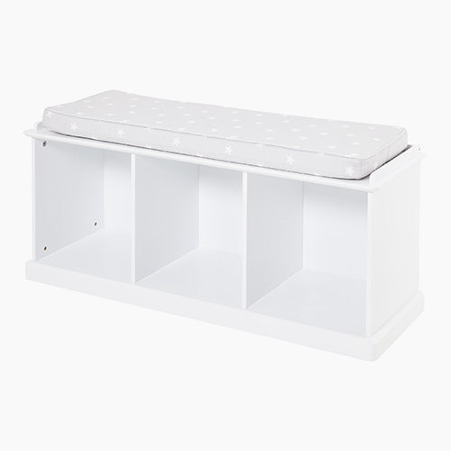 Abbeville Storage Bench Set, White with Grey Stardust Cushion