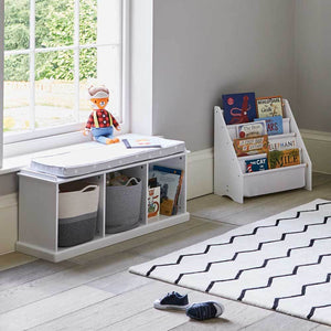 Abbeville Storage Bench Set (White Bench & Grey Stardust Cushion)