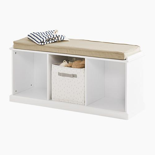 Abbeville Storage Bench Set, White with Natural Cushion