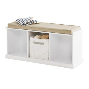 Abbeville Storage Bench Set (White Bench & Natural Cushion)