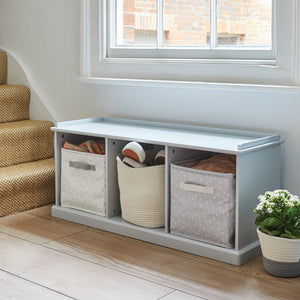 Grey, wooden storage bench and storage cubes