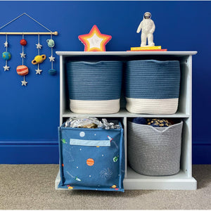 Grey, wooden 3 part storage and storage baskets
